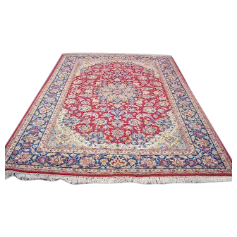 Persian Rug - 1970s Vintage, Hand-Knotted, Room-Sized Isfahan-Najafabad (3264)