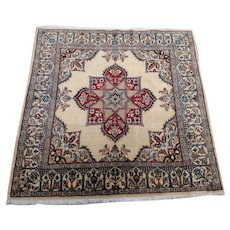 "Persian Rug - 1990s Hand-Knotted, Square Wool & Silk Nain, 3'2"" x 3'3""(3324)"