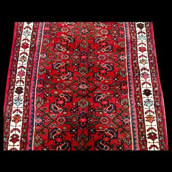 Persian Rug - 1980s Hand-Knotted Hamadan Runner (3333)