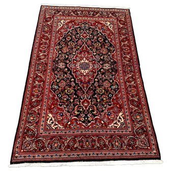 """Persian Rug - 1990s Hand-Knotted Vintage Blue Kashan, 4'4"""" x 7'3"""" (3376)"""