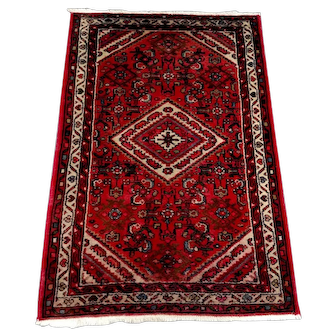 "Persian Rug - 1970s Hand-Knotted Vintage Hamadan, 2'10"" x 4'4"" (3391)"