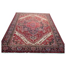 Persian Rug - 1990s Hand-Knotted Vintage Room-Sized Heriz Gorovan (3482)