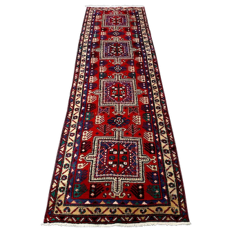 """Persian Rug - 1970s Hand-Knotted Ardabil Runner, 3'4"""" x 9'10"""" (3490)"""