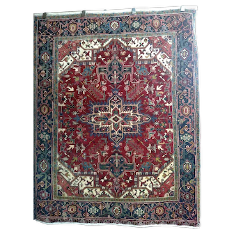 """Persian Rug - 1980s Hand-Knotted Vintage Heriz, 5'5"""" x 6'9"""" (3503)"""