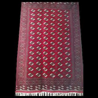 "Persian Rug - 1980s Hand-Knotted Turkaman Bokara, 6'10"" x 10'6"" (3510)"