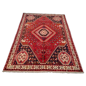 """Persian Rug - 1980s Hand-Knotted Shiraz, 6'2"""" x 9'4"""" (3575)"""