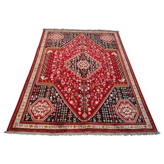 """Persian Rug - 1980s Hand-Knotted Shiraz, 6'7"""" x 9'5"""" (3576)"""