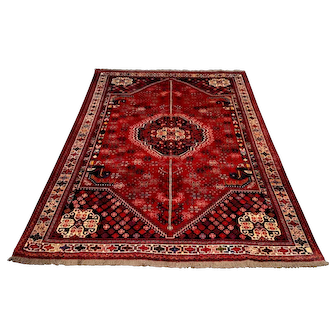 """Persian Rug - 1980s Hand-Knotted Shiraz, 6'2"""" x 9'4"""" (3578)"""