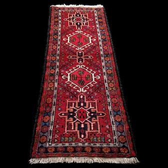 Persian Rug - 1990s Hand-Knotted Karaja Persian Rug Runner (3592)