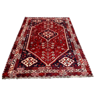 Persian Rug - 1980s Hand-Knotted Shiraz Rug (3601)