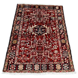 "Persian Rug - 1960s Hand-Knotted Karaja, 3'5"" x 4'8"" (3611)"
