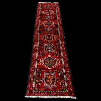 Persian Rug - 1980s Hand-Knotted Karaja Runner (3680)