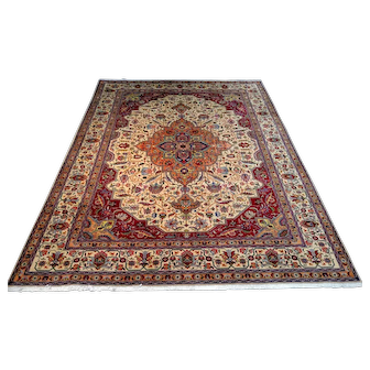 """Persian Rug - 1990s Room-Sized Hand-Knotted Tabriz, 8'3"""" x 11'2"""" (3694)"""