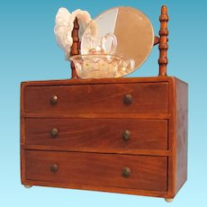 Vintage Wooden 3-drawer Doll Dress with Mirror