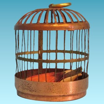 Dollhouse Bird Cage with Two Birds