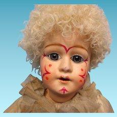 "20"" Antique Papier Mache  Clown in Original Pierrot Costume"