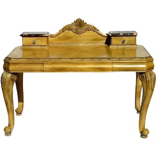 Vintage Schnadig French Desk of Carved Blond Wood With Marble Tops