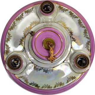 Vintage German Porcelain Deco Ceiling Light, Flush Mount, 1930's, Iridescent Rose, Rewired/Restored, Ready to Install