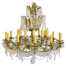 Vintage 24 Light European Brass and Crystal Ballroom Chandelier