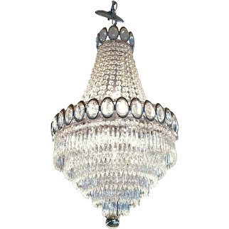 Vintage Metropolitan Deco Ballroom Chandelier With Draped and Cascaded Crystal Design