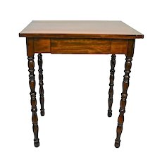Small Antique Walnut  Writing Table With Turned Legs and Single Drawer 19th Century