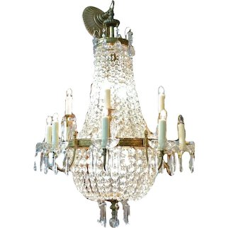 18 Light Antique Brass Crystal Draped Chandelier