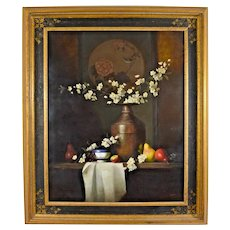 Still Life Painting Ernest Baber Oil On Canvas Framed Master of Light Original