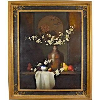 Still Life Painting Ernest Baber Oil On Canvas Framed Master of Light Original