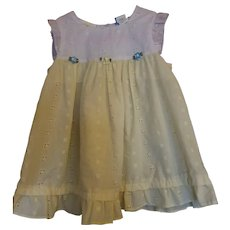 Little Bitty: Yellow and white eyelet dress 24 months