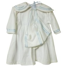 Large White Doll Coat 3 Piece Set