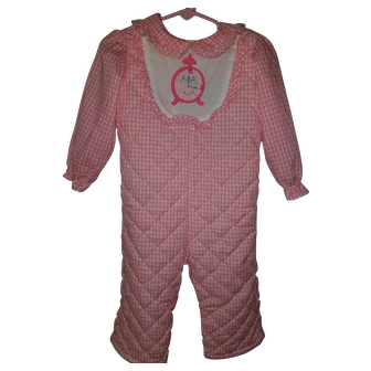 Vintage Girls Wonderalls OnePiece with cute Clock Face