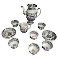 19th Century  Boch Freres Fontaine Mourning Set for 6