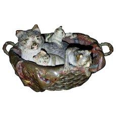 Franz Bergman Bronze Cat and Kittens
