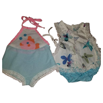 2 Vintage Baby Doll Clothes for 14-15 inch Baby