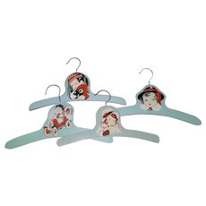 Set of 4 Painted Wooden Baby Hangers