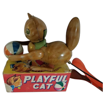 Playful Cat Tin toy with Box