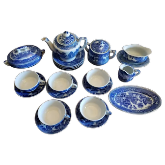 Large collection of Children's Tea Set Blue Willow Pattern