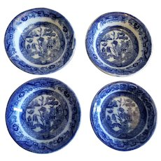 4 Butter Pats Blue Willow England