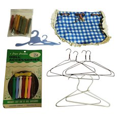 Vintage Doll Hangers and Clothespins and Line