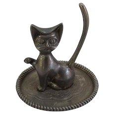 Silverplate Cheshire Cat Ring Holder