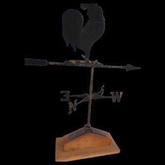 Sheet Iron Crowing Rooster Weathervane