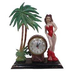 Scarce Vintage Hula Girl Clock