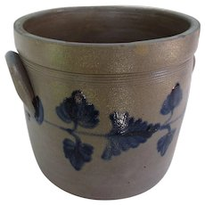 Blue Decorated Stoneware Crock