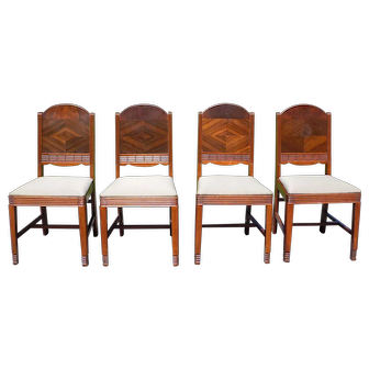 Set of 4 Vintage Burl Walnut Art Deco Dining Chairs
