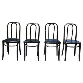 Antique Set of 4 Bentwood Dining Cafe Bistro Chairs