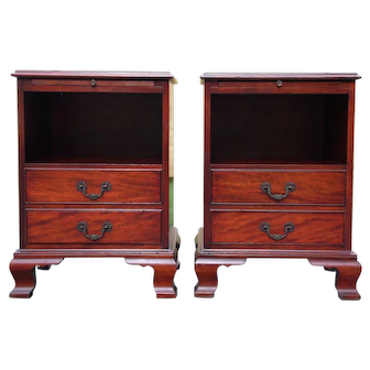 Vintage Pair Solid Mahogany Bedside Chests Nightstands End Tables
