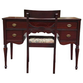 Vintage Federal Marvel Furniture Mahogany Desk & Klismos Chair Jamestown NY