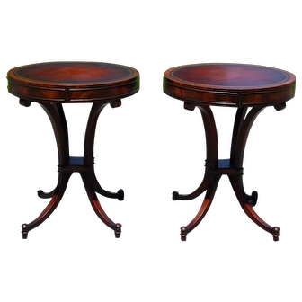 Vintage Pair Weiman Federal Regency Flame Mahogany Round Drum Leather Top Tables