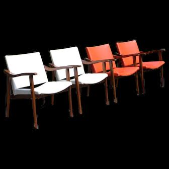 Vintage Set of 4 Mid Century Danish Modern Dining Office Arm Chairs Yugoslavia