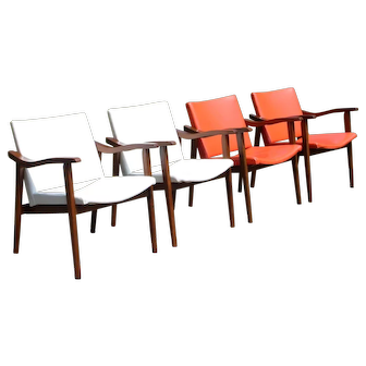 Vintage Set of 4 Mid Century Danish Modern Dining Office Arm Chairs Yugoslavia